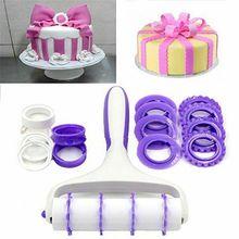 Top Fondant Strip Ribbon Cutter Sugarcraft Cake Decorating Tools Rolling Pin Embosser Roller Set Baking For Cakes