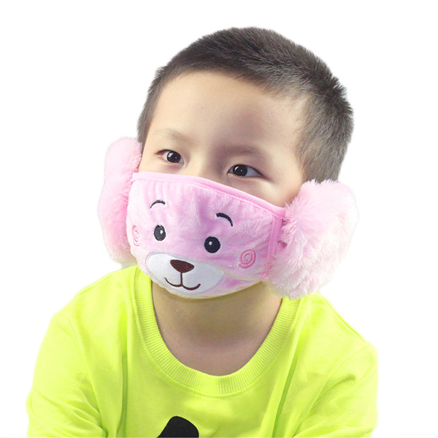 Cute bear Ear Protective Kid Mouth Mask Flu Windproof Mouth-muffle Anti Dust Winter Masks Children Anti Haze Cotton Face Mask