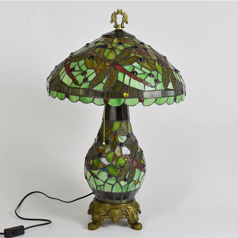 Dragonfly Tiffany Table Lamp Green OFF