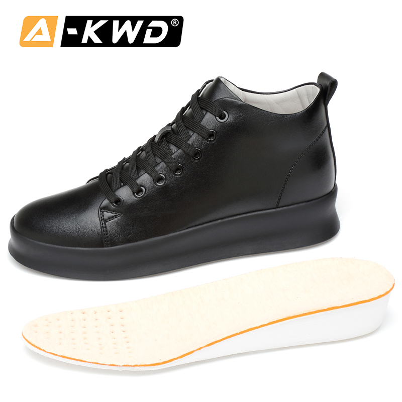 2019 Fashion Leather Ankle Shoes For Men Big Size Men High Top Sneakers Elevator Shoes For Men Height Increase 8cm Herenschoenen