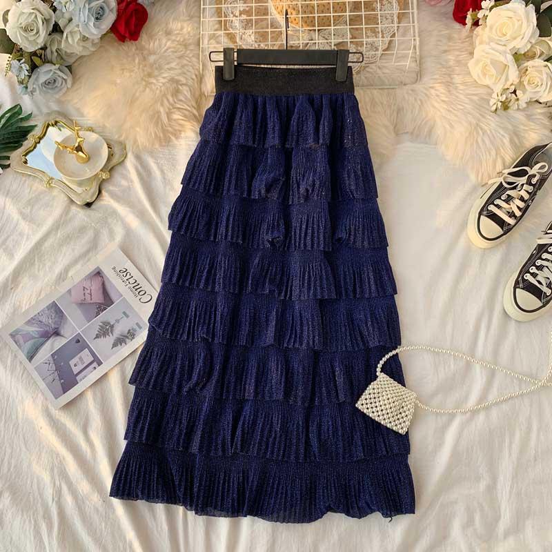 2019 new High Waist Women Chiffon Skirt Black A-line Maxi Princess Layered Skirt Korean Style Jupe Femme Faldas Largars Mujer