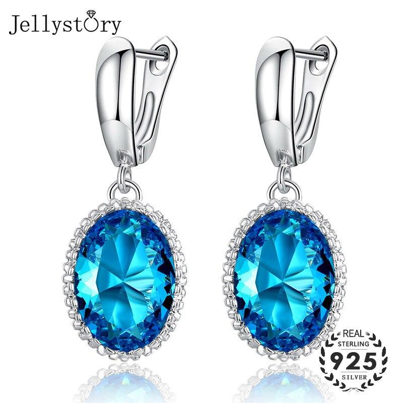 Jellystory New Silver 925 Jewelry Women Earrings With Oval Shaped Sapphire Gemstone Drop Earring Wedding Party Gifts Blue Purple