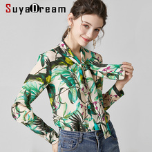 SuyaDream Women Printed Blouses 100% Silk Crepe 2020 Spring Long Sleeved Bow Col
