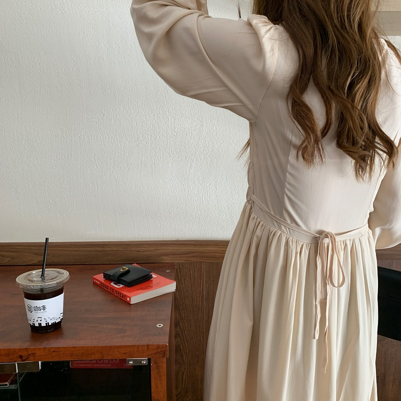 H257d697da3ae407bb8999c7f459b4bbfl - Autumn V-neck Long Sleeves Pleated Waist-Controlled Solid Loose Dress