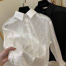 2021 primavera e outono nova camisa feminina jacquard solto moda lazer letras