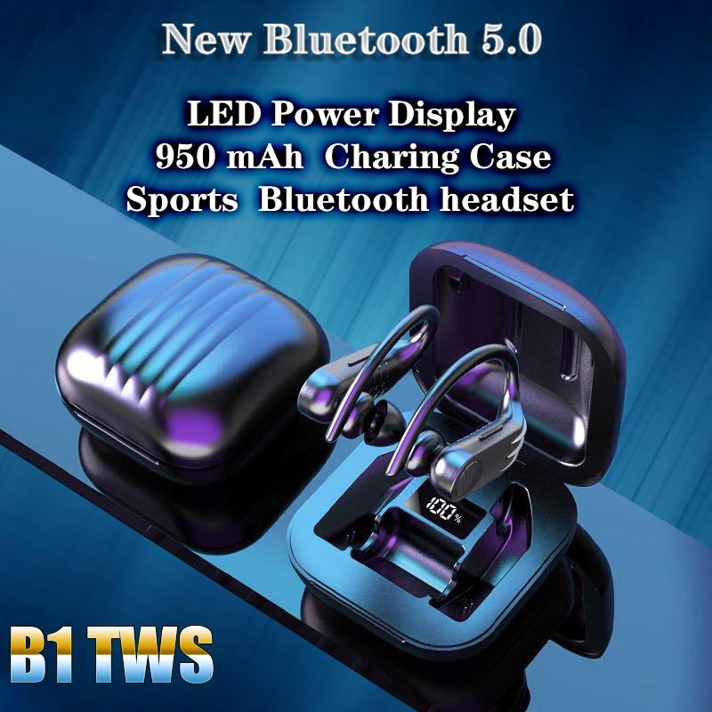 Bluetooth-наушники B1, спортивные водонепроницаемые наушники-вкладыши, музыкальная гарнитура со светодиодным дисплеем, беспроводные наушники д...