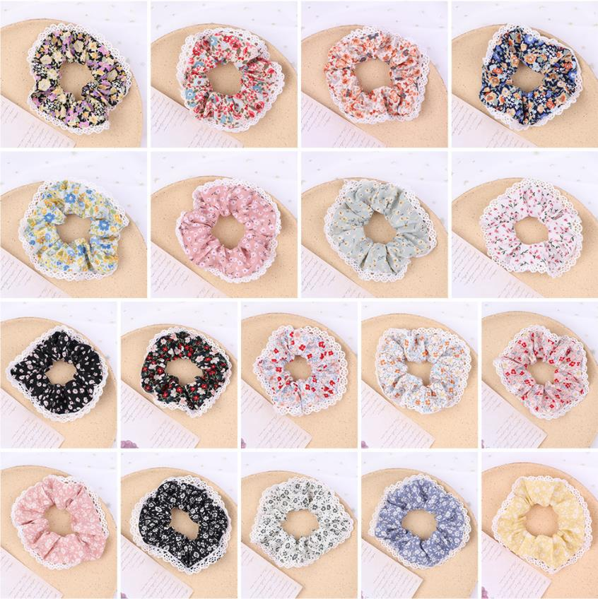 Wholesale Broken Flower Scrunchie Set Elastic Hair Bands Solid Color Fashion Headwear Women Hair Accessories Gift Free Shipping