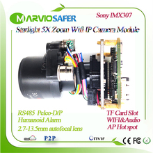 H.265 Starlight FULL HD WIFI IP PTZ Camera Module Motorized auto focal  2.7 13.5mm Zoom Lens TF Card Slot RS485 Human detection
