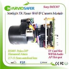 H.265 Sternenlicht FULL HD WIFI IP PTZ Kamera Modul Motorisierte auto brenn 2,7 13,5mm Zoom Objektiv TF karte Slot RS485 Menschlichen erkennung
