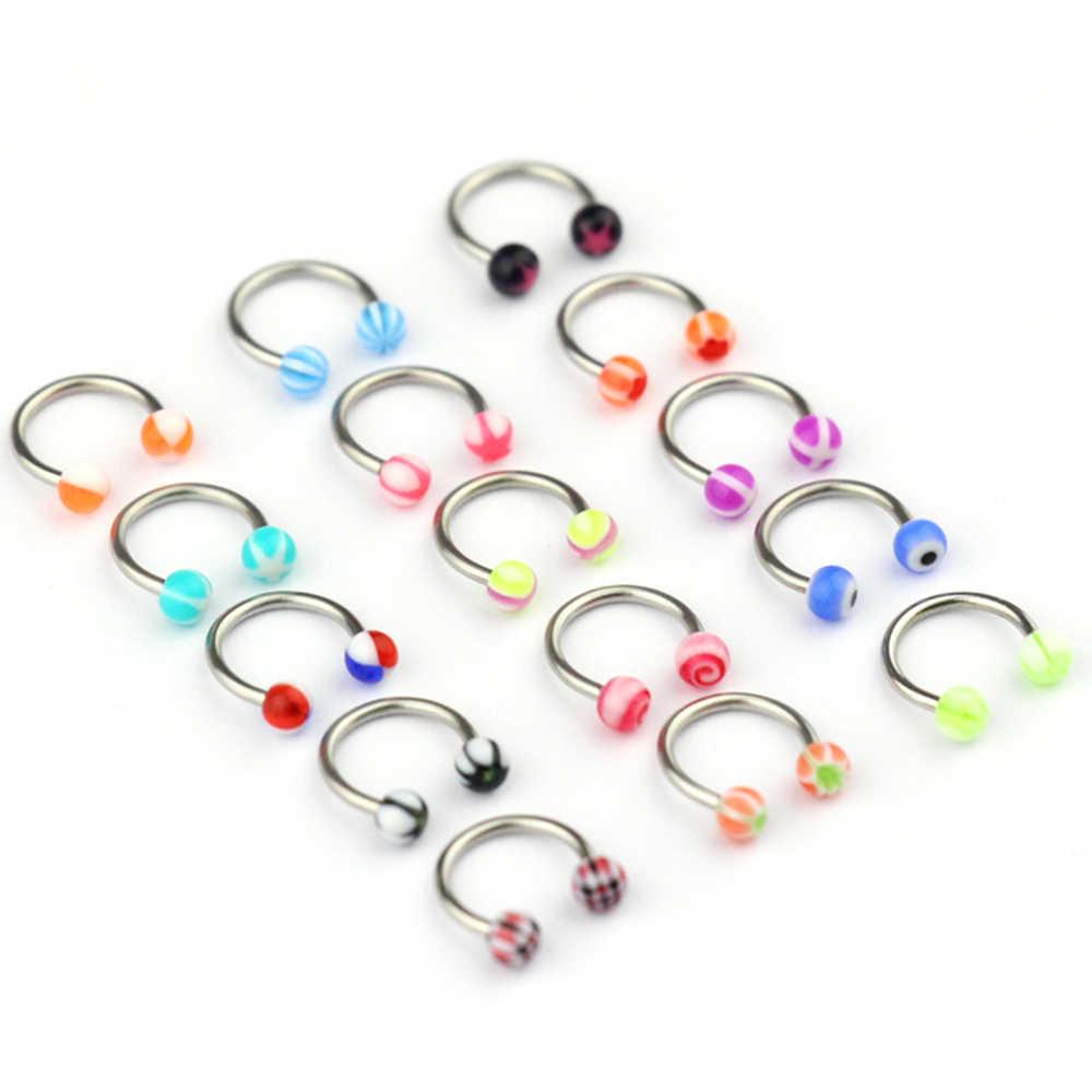 10 יח'\סט צבעוני אקריליק האף טבעות אוזן פירסינג משקולת עגולה פרסת טבעת שפתיים Labret גבות אוזן תכשיטים