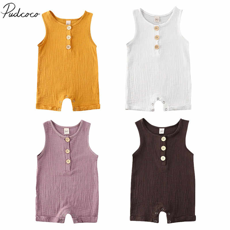 2020 Baby Summer Clothing Newborn Kid Baby Boy Girl Clothes Romper Jumpsuit Solid Sleeveless Cotton Linen Outfits