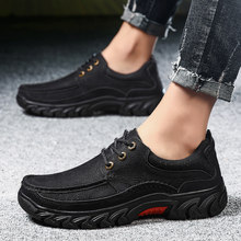 2019 New Arrival Mens Casual Genuine Leather Shoes Spring Winter Lace Up Non-slip Comfortable Men Work Shoes Black Khaki Shoes(China)