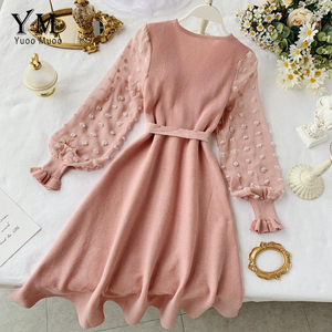 Image 4 - YuooMuoo Romantic Women Knitted Pink Party Dress 2020 Fall Winter V Neck Elegant Chiffon Long Sleeve Sashes Dress Ladies Dress