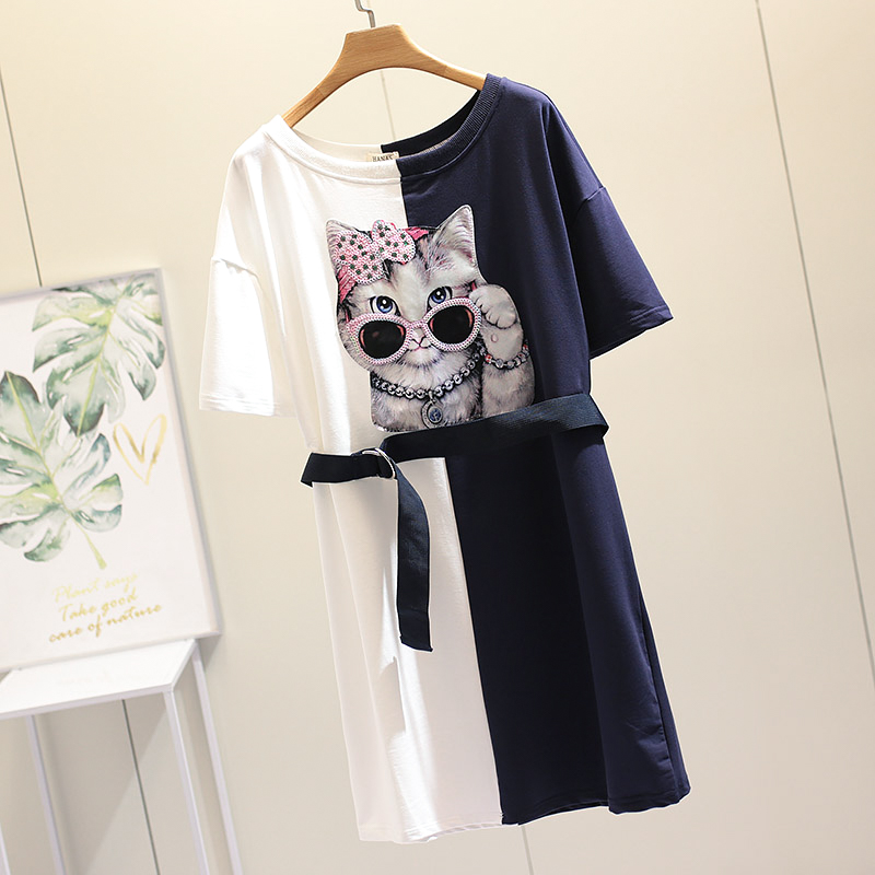 2019 Summer Dress Cute Cat Printed Foreign Style Casual Big Size Female Dress Coloured Patch Work Slim With Waist Belt 4XL