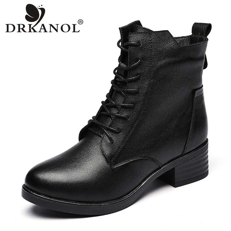 DRKANOL New Women Boots 2019 Autumn Winter Genuine Leather Thick Heel Ankle Boots For Women Warm Short Plush Martin Boots H339