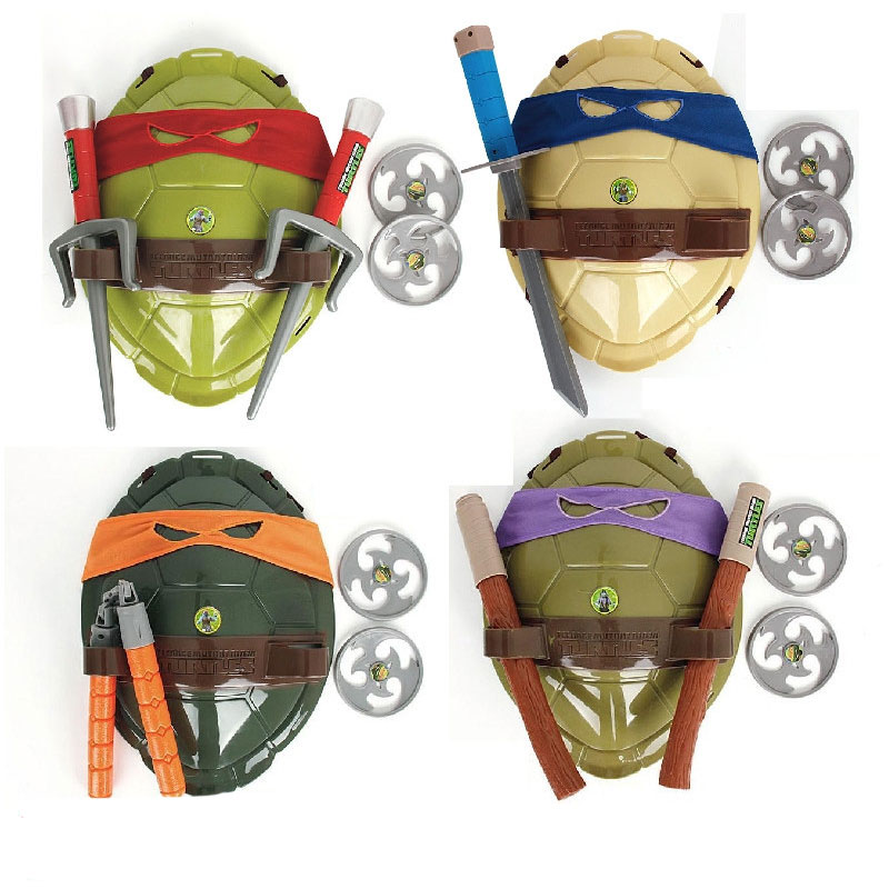 [Funny] Anime Movie Cartoon Ninja Toys Turtles Armor Weapons Leo Raph Mikey DonFigure Cosplay Shell Props
