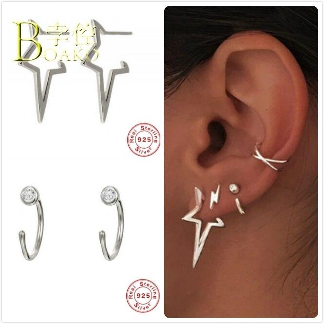 925 Sterling Silver Earrings For Women Baroque Star Earrings Gothic Girl Geometric Earrings Punk Female Piercing Aretes B5