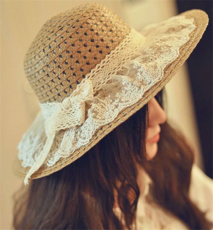 New Trend Adult Casual Lace Straw Hat Sun Hat Women And Child Floppy Ribbon Panama Caps Hollow-out Floral Bucket Hat