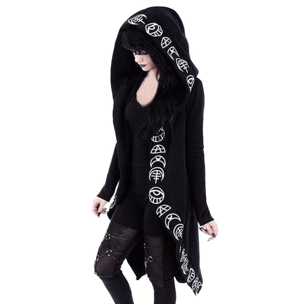 H257e4298b795428398f300650fd9e9f0M Women Long Sleeve Punk Moon Print Hooded Black Cardigan Jacket Coat Plus Size S123