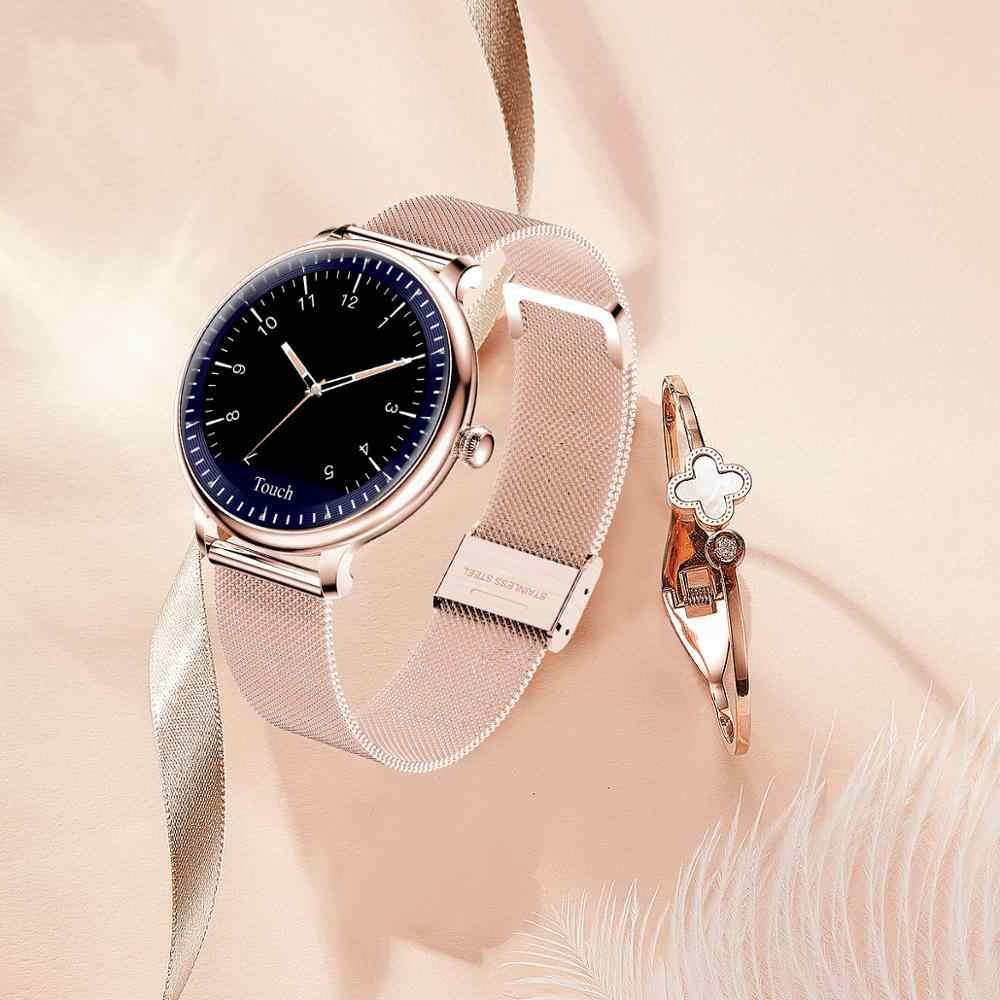 Luik Mode Vrouw Smart Horloge Waterdicht Slimme Horloge Vrouwen Sport Fitness Tracker Voor Android Ios Nieuwe Mesh Riem Goud Smartwatch
