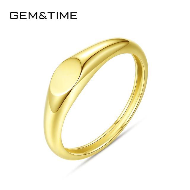خاتم نسائي صلب مصقول ذهبي 14K حقيقي من Gem & Time خواتم كورية من الذهب الأصفر عيار 585 مجوهرات خاتم زفاف مجوهرات باجو فيم