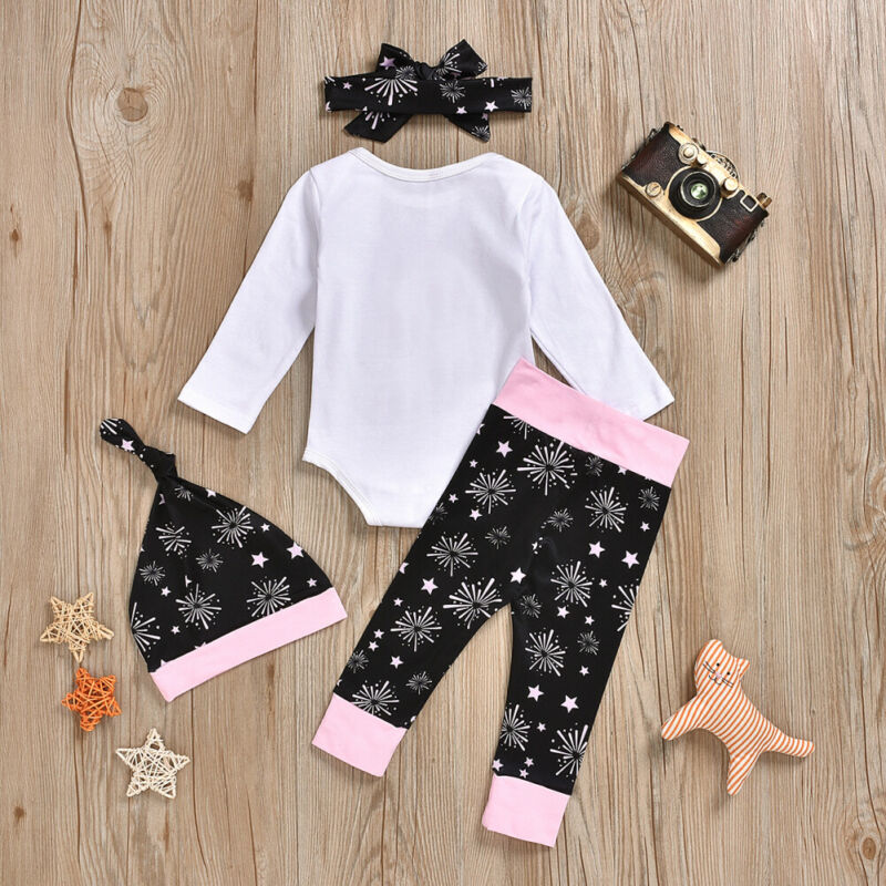 Uk My 1st New Year S Infant Baby Girl Clothes Tops Pants Headband Hat Outfit Set Clothing Sets Aliexpress