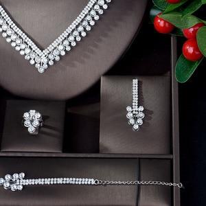 Image 3 - HIBRIDE Shinning Pave CZ Dubai Jewelry Sets 2020 Women Wedding Zirconia Leaf Design Copper 4pcs Jewelry Set collier mariag N 896