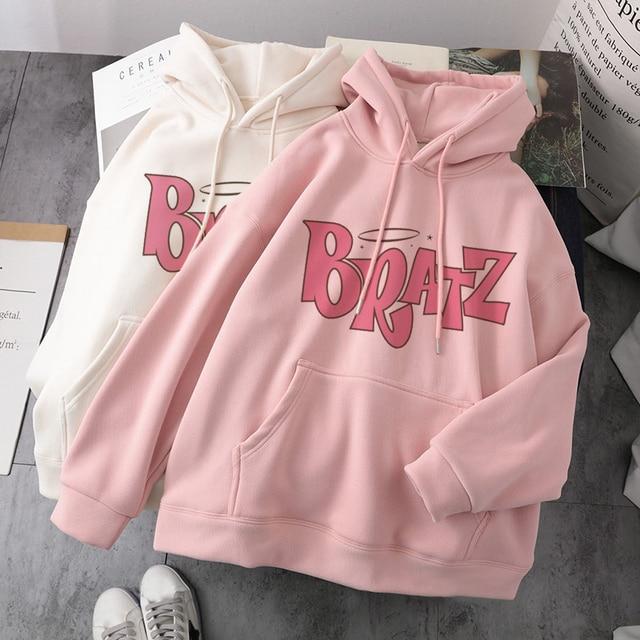 Women Casual Hooded Sweatshirt Bratz letter sweatshirt Harajuku Kawaii cute hoodie Long Sleeve Sweatshirt Autumn streetwear худи 1