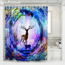 Plus Size Bathroom Shower Curtain Large Shower Curtain 3D Bath Curtain Rainbow Elk Tree Hole Psychedelic Waterproof Fabric Art