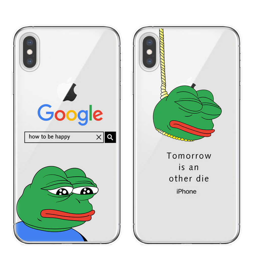 Funny Frog Pattern Clear TPU Soft Case For iphone 11 Pro XS Max X XR 8 7 6 6S Plus 5S SE Case Cover For iphone X Ultra Slim Case
