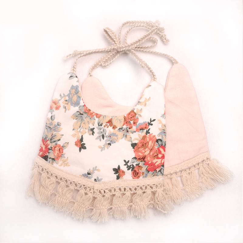 Toddler Baby Girls Boy Bib Dinner Feeding Tassel Cotton Linen Burp Saliva towel