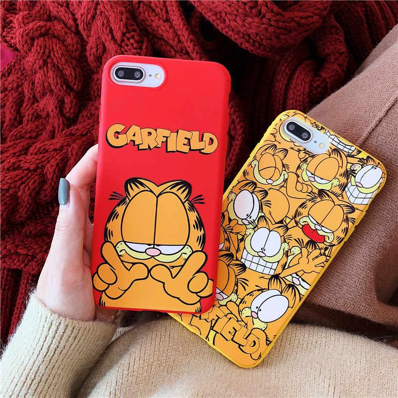 Jolie coque de téléphone Garfield, en Silicone mat, souple, dessin animé, pour iPhone 12 12Mini 11 Pro XS Max SE X XR 7 8 6 6s Plus