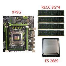 X79G Motherboard LGA2011 Mainboard E5 2689 CPU 4x8G DDR3 RAM PCI-E NVME M.2 SSD