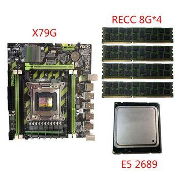 цена на X79G Motherboard LGA2011 Mainboard E5 2689 CPU 4x8G DDR3 RAM PCI-E NVME M.2 SSD