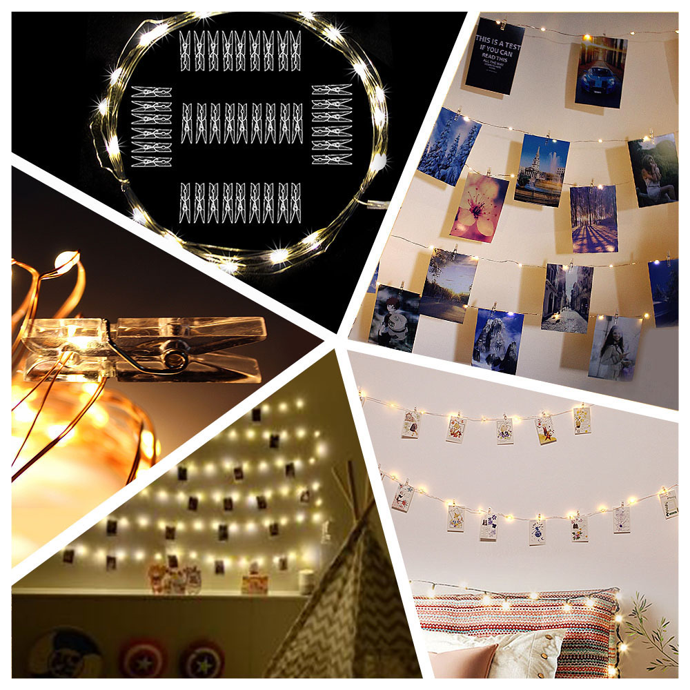 2M/5M/10M Photo Clip USB LED String Lights Fairy Lights Outdoor Battery Operated Garland Christmas Decoration Party Wedding Xmas Pakistan