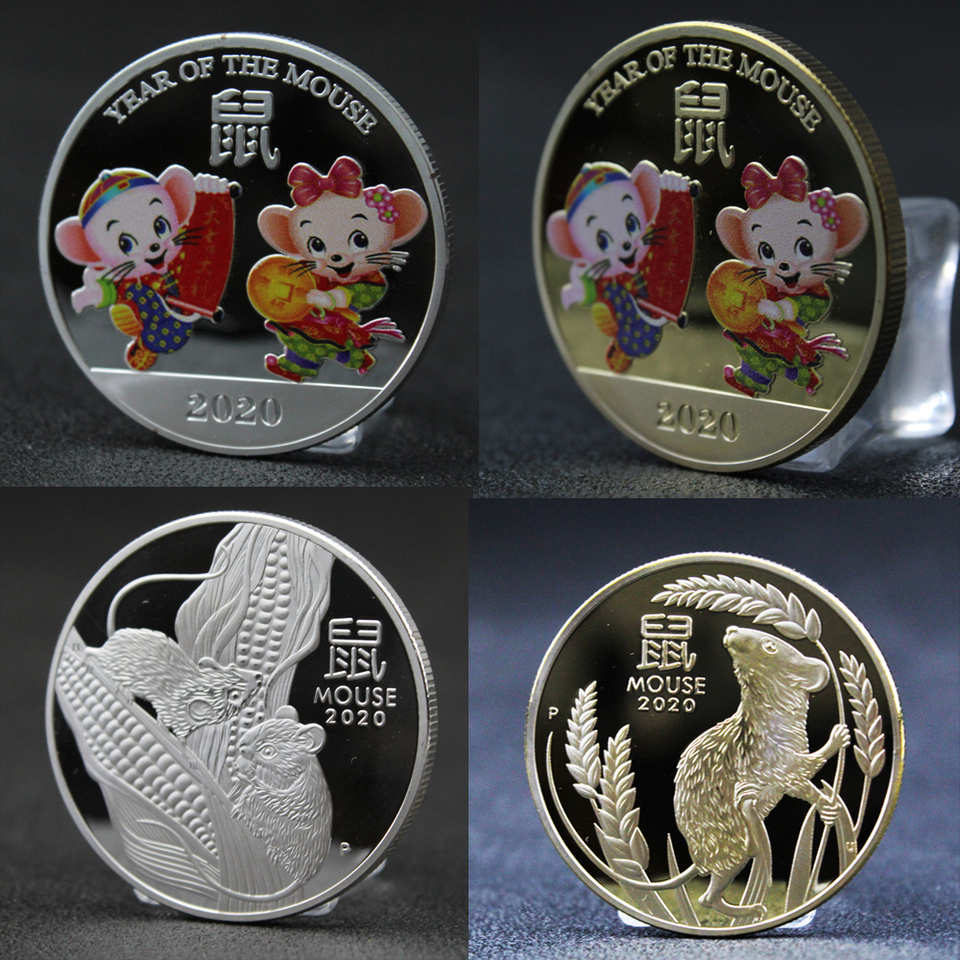 2020 Year of the Rat Commemorative Coin Gold Plated Challenge Coin SouvenTEGK