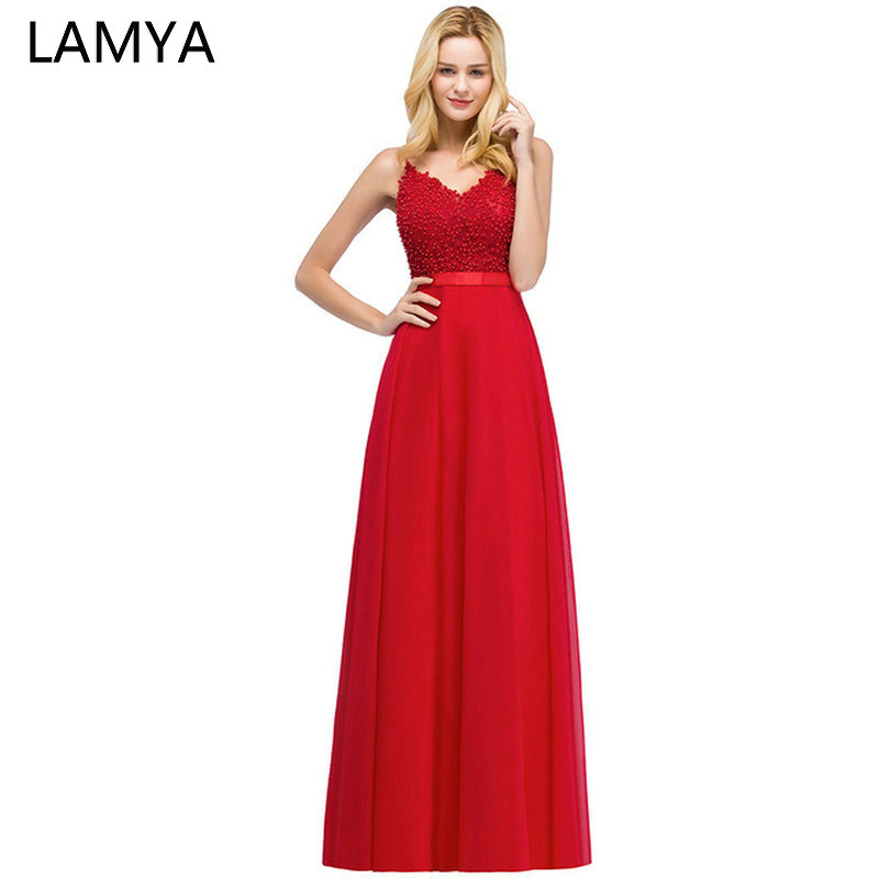 LAMYA Customized Spaghetti Strap   Evening     Dresses   Luxurious V Neck Beaded Prom Party Gown Women Elegant A Line Vestido De Novia