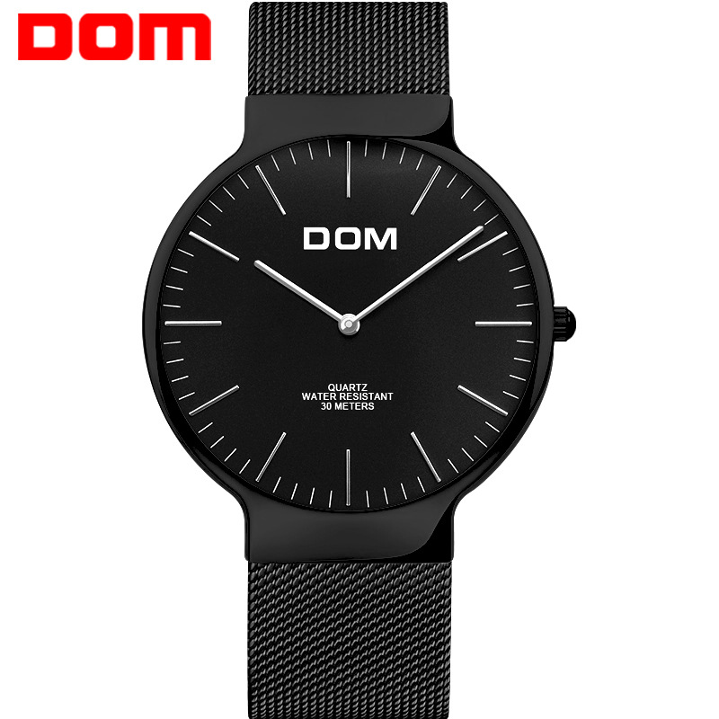 Watch Men DOM Top Luxury Brand Men's Watches Ultra Thin Stainless Steel Mesh Band Quartz Wristwatch Fashion casual watch