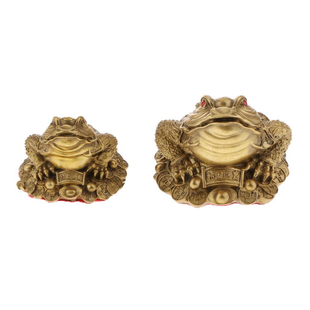 Chino tradicional Feng Shui rana de dinero sapo monedas adornos oficina en casa decoración escultura suerte regalo de riqueza
