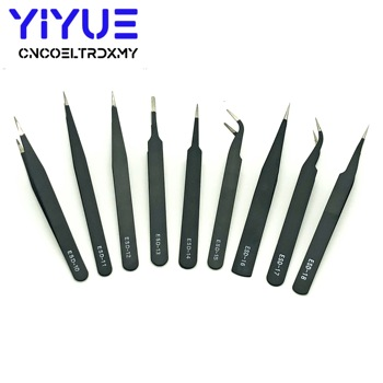 9 Types Anti-static ESD Stainless Steel Tweezers Maintenance Tools Industrial Precision Curved Straight Tweezers Repair Tools недорого