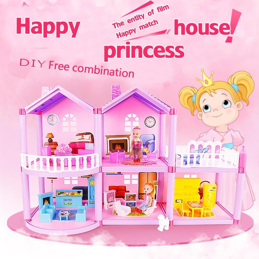 Bricolage maison de poupée poupée princesse maison de poupée villa château et meubles simulation rêve fille maison de jouet pour enfants