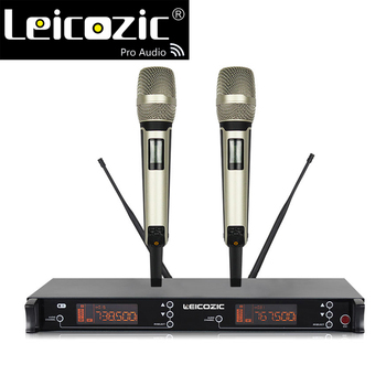 Leicozic dual channel uhf wireless microphone 615-655Mhz handheld sing mikrafon profesional microphones wireless sets stage mic