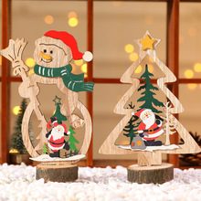 1pcs Santa Claus Snowman Xmas Tree Wooden Christmas Ornaments Pendants Party DIY Decor Home Garden Decorative Supplies