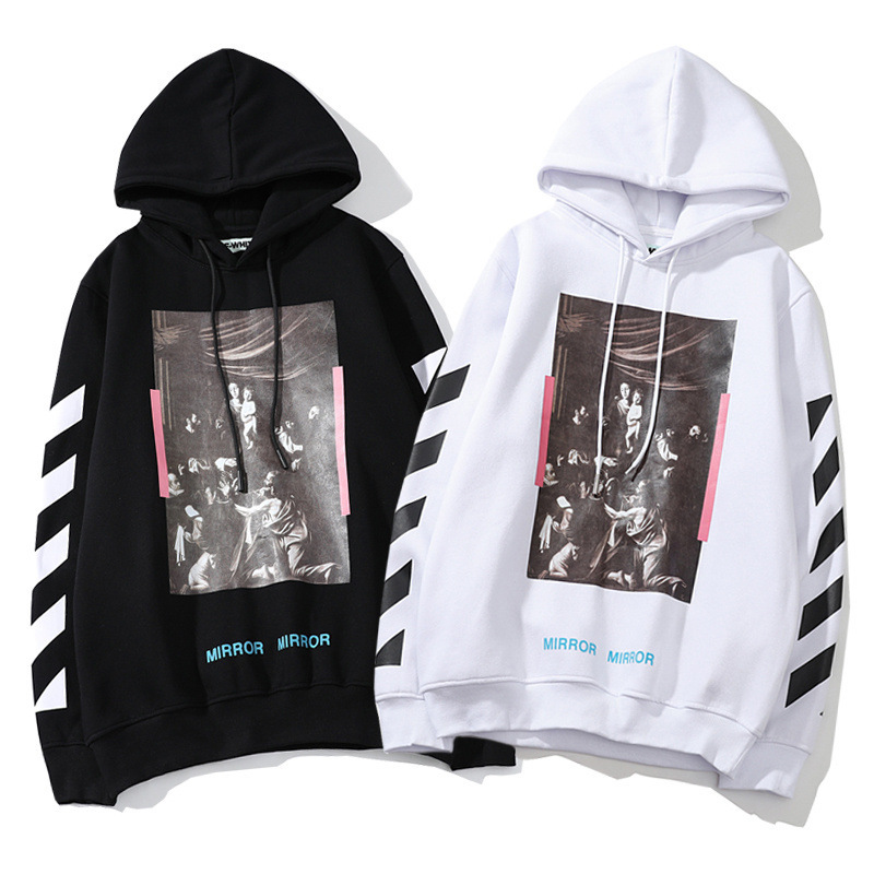 Europe And America Fashion Off White New Style Religious Heat Transfer Patch Loose-Fit Plus Velvet Couples Hoodie Casual Plus Ve