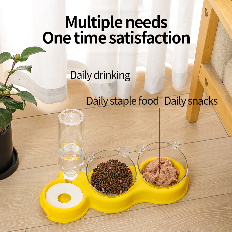 Cat double bowl, moisture-proof mouth, dual-use, three-bowl automatic feeder, automatic drinking basin, anti-overturning pet dog