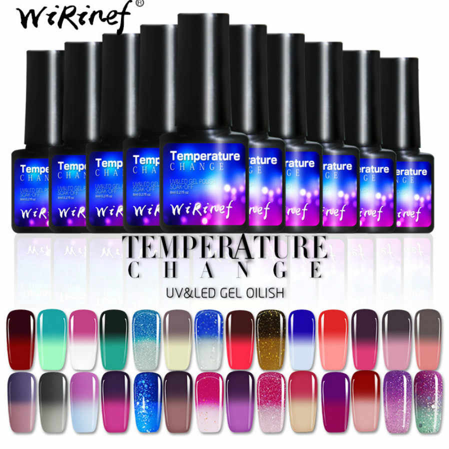 Fashion Perubahan Suhu Gel Polish Nail Art Desain Manikur 8 Ml Rendam Off Enamel Gel Uv Gel Cat Kuku pernis Pernis
