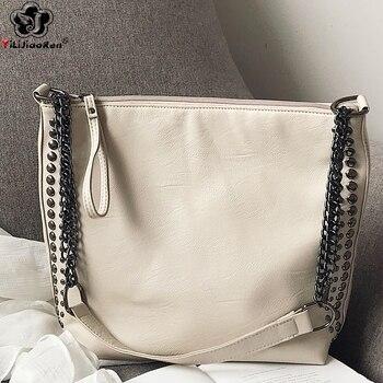 Large Leather Shoulder Bag Women Fashion Rivet Handbag Big Messenger Bag Women Quality Ladies Chain Handbags Sac A Main Femme