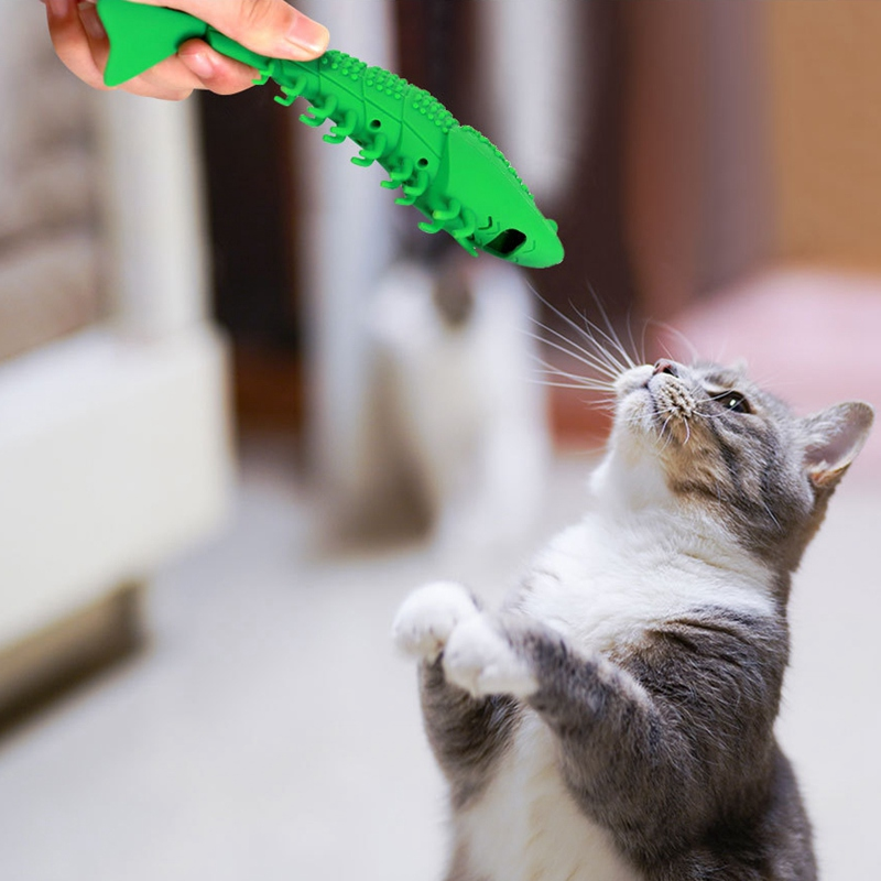 Cat Chew Toy Silicone Fish Shape Catnip Toy For Cat Kitten Cat Mint Cleaning Toothbrush Funny Cat Toy Pet Supplies #L image
