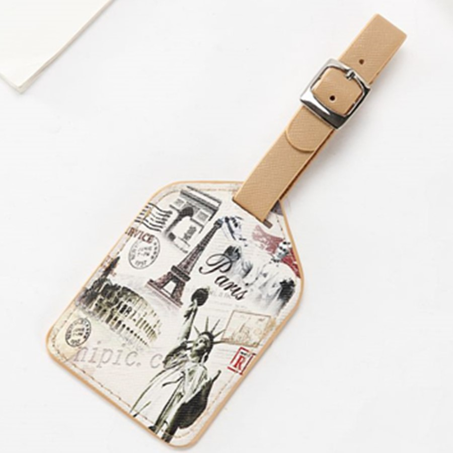 Suitcase Leather Luggage Tag Label Bag Pendant Handbag Travel Accessories Tower Old Times Name ID Address LT08C