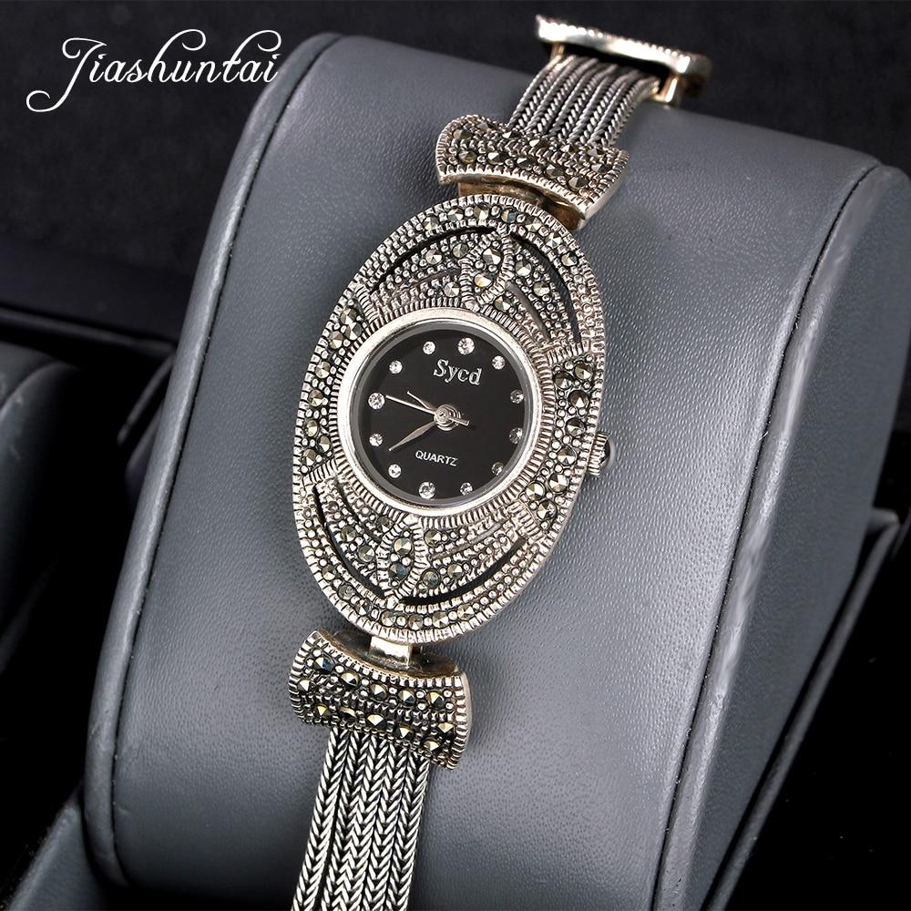 ZHJIASHUN Retro 100% 925 Sterling Silver Watch For Women Round Vintage Thai Silver Clock Female Bracelets Watch Jewelry